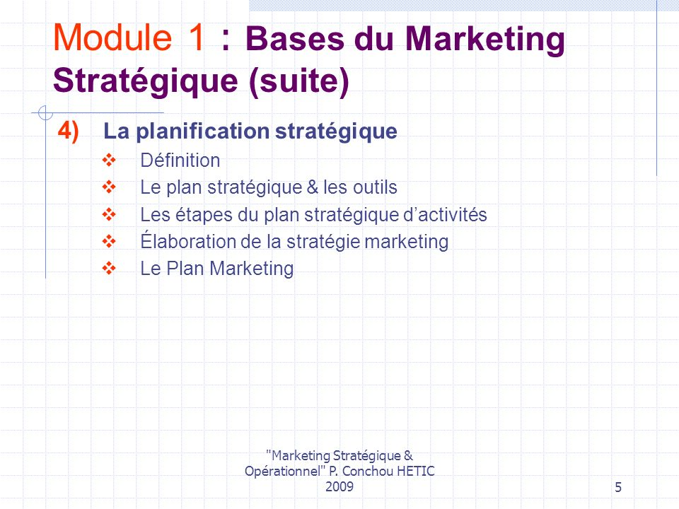 Module 1 : Bases du Marketing Stratégique (suite)