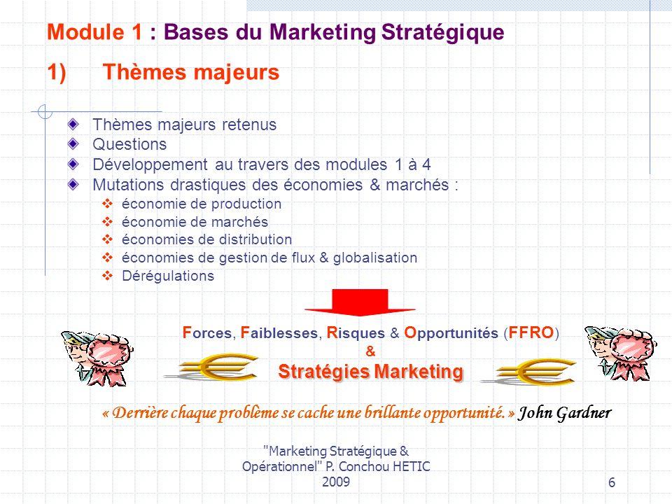 Module 1 : Bases du Marketing Stratégique Thèmes majeurs