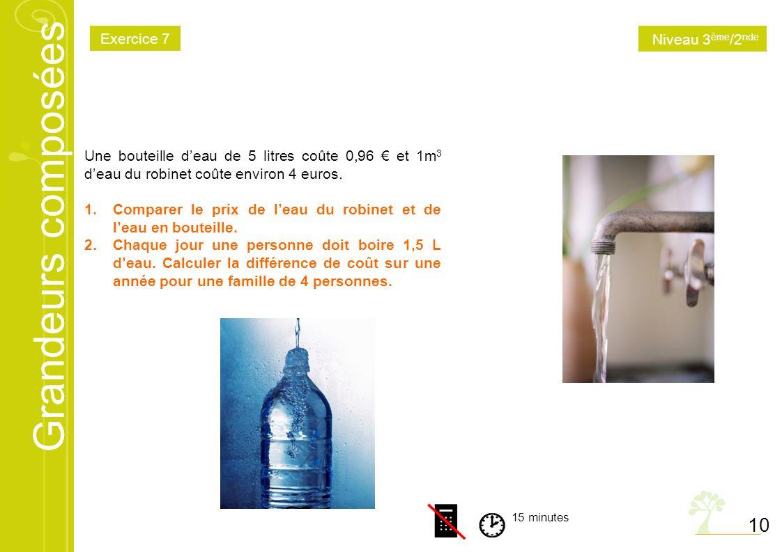 Grandeurs compos es math matiques niveau 3 me 2nde - Combien coute 1 litre d eau du robinet ...