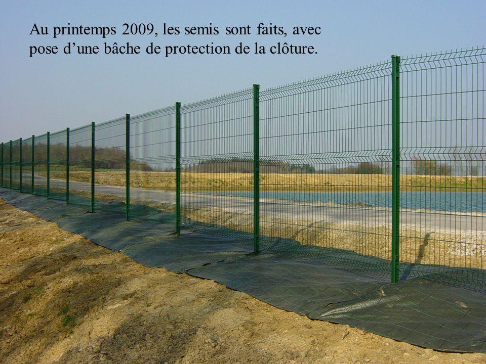 Au printemps 2009, les semis sont faits, avec pose d'une bâche de protection de la clôture.