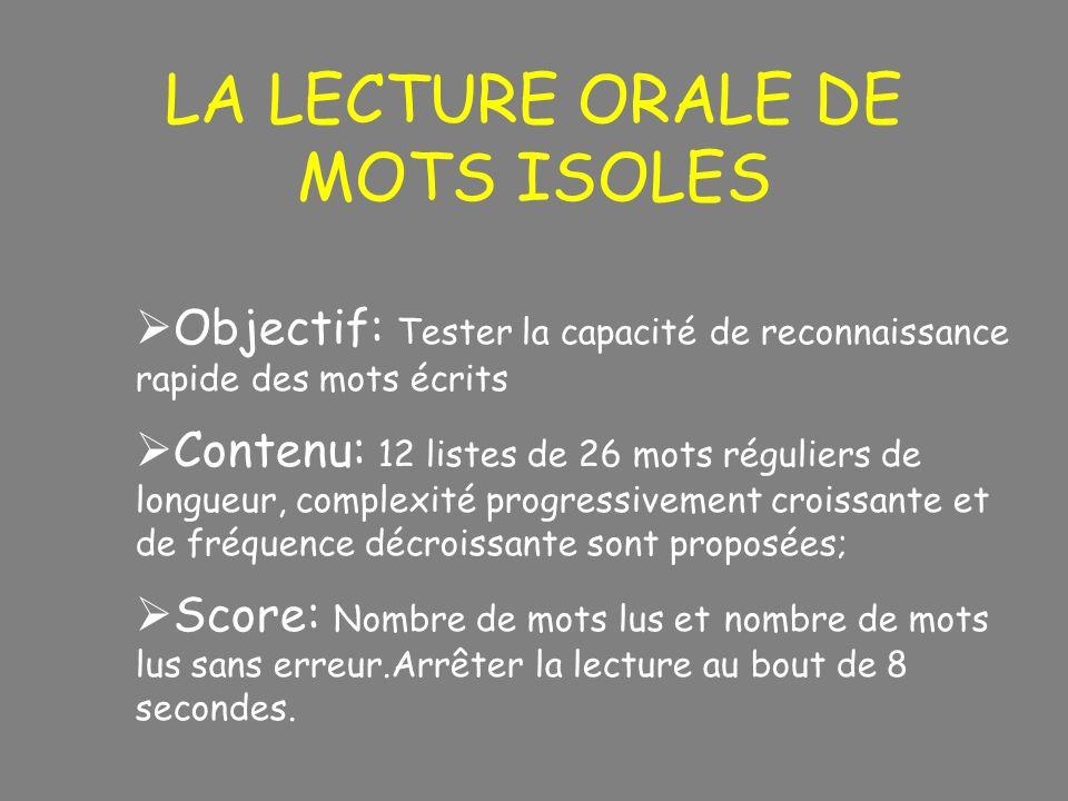 LA LECTURE ORALE DE MOTS ISOLES