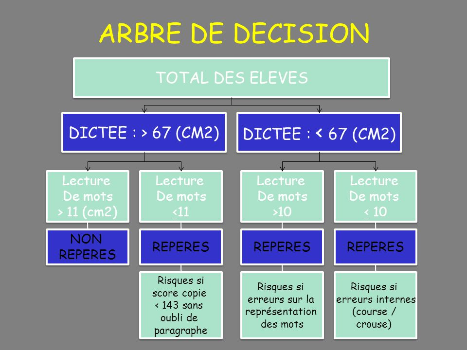 ARBRE DE DECISION TOTAL DES ELEVES DICTEE : < 67 (CM2)‏