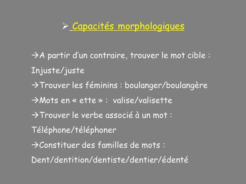 Capacités morphologiques