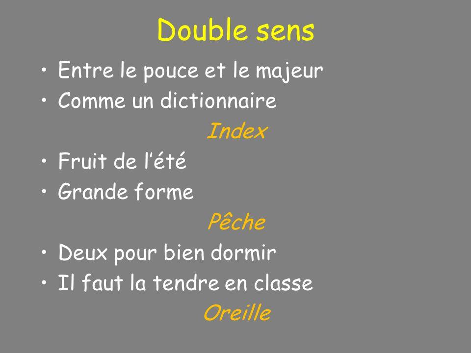 Double sens Entre le pouce et le majeur Comme un dictionnaire Index