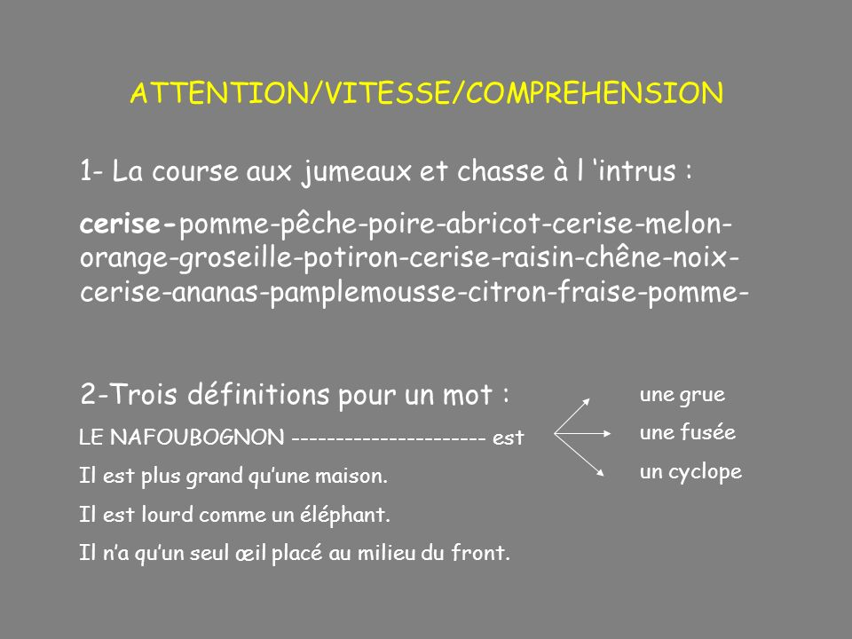 ATTENTION/VITESSE/COMPREHENSION