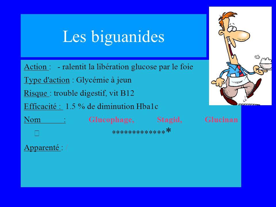Les biguanides Action : - ralentit la libération glucose par le foie