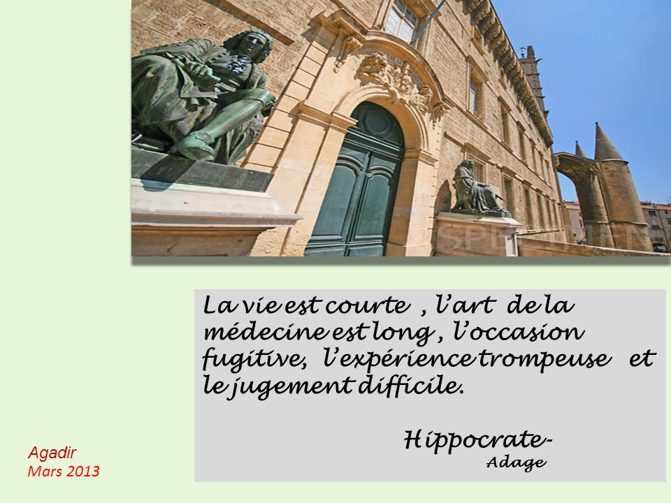 La vie est courte , l'art de la médecine est long , l'occasion fugitive, l'expérience trompeuse et le jugement difficile.