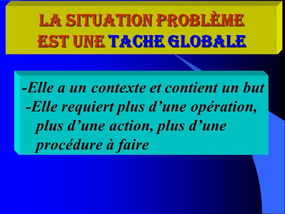 La situation problème est une tache globale