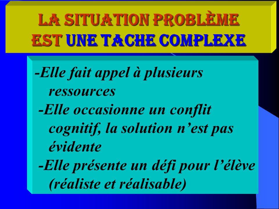 La situation problème est une tache complexe