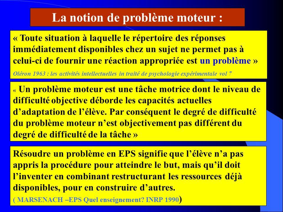 La notion de problème moteur :