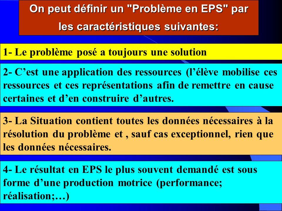 On peut définir un Problème en EPS par les caractéristiques suivantes: