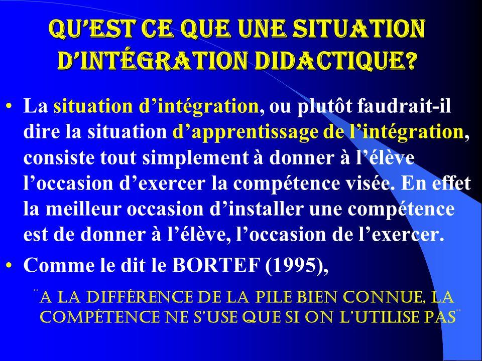 Qu'est ce que une situation d'intégration didactique