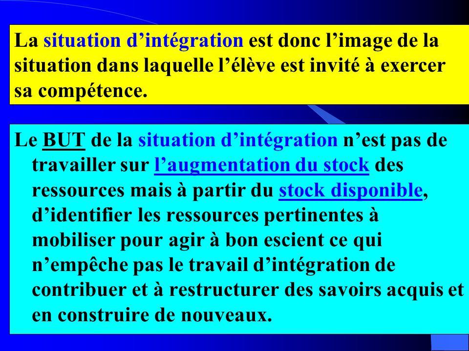 La situation d'intégration est donc l'image de la situation dans laquelle l'élève est invité à exercer sa compétence.
