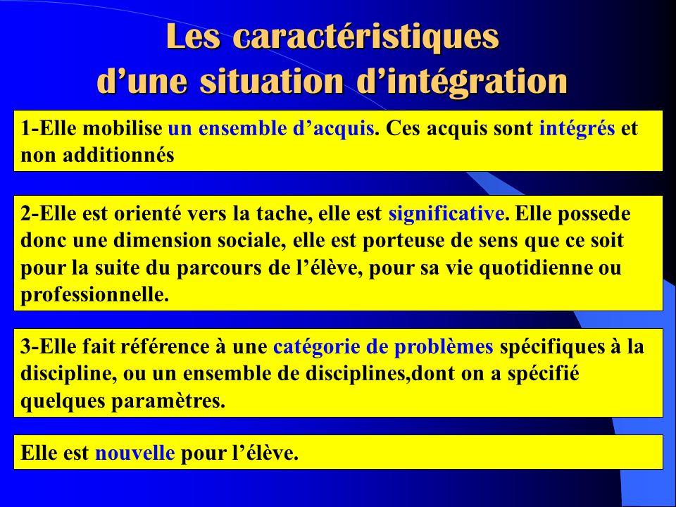 Les caractéristiques d'une situation d'intégration