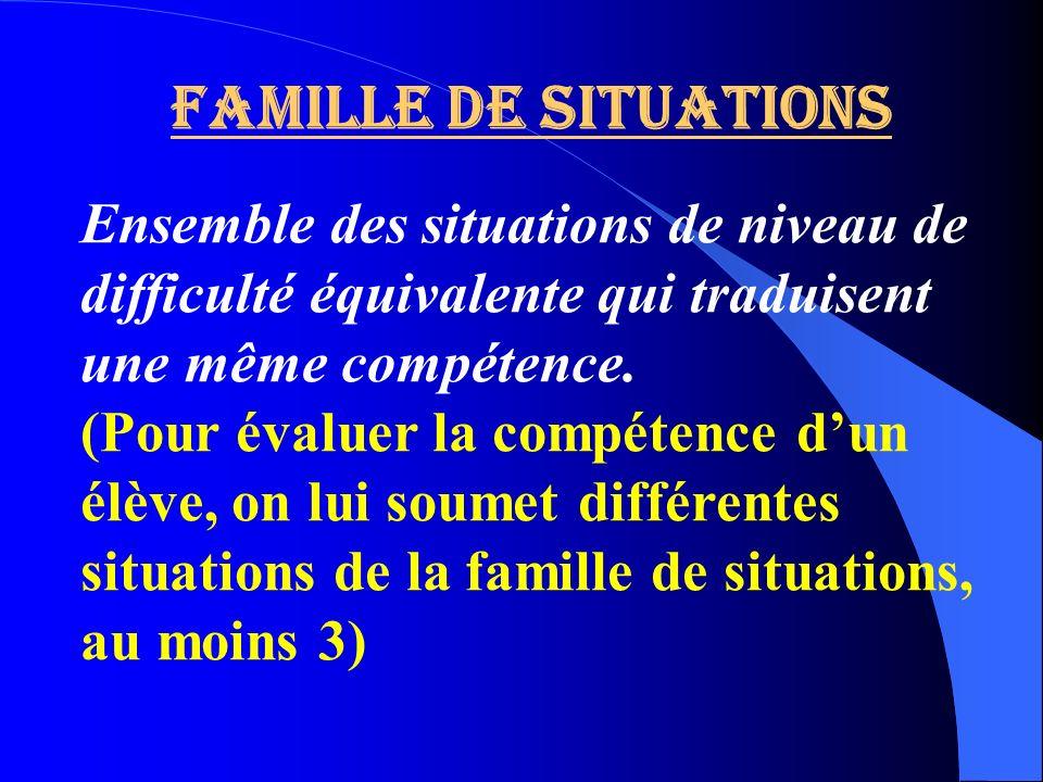 Famille de situationsEnsemble des situations de niveau de difficulté équivalente qui traduisent une même compétence.