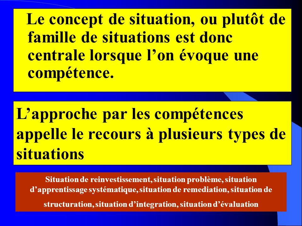 Le concept de situation, ou plutôt de famille de situations est donc centrale lorsque l'on évoque une compétence.