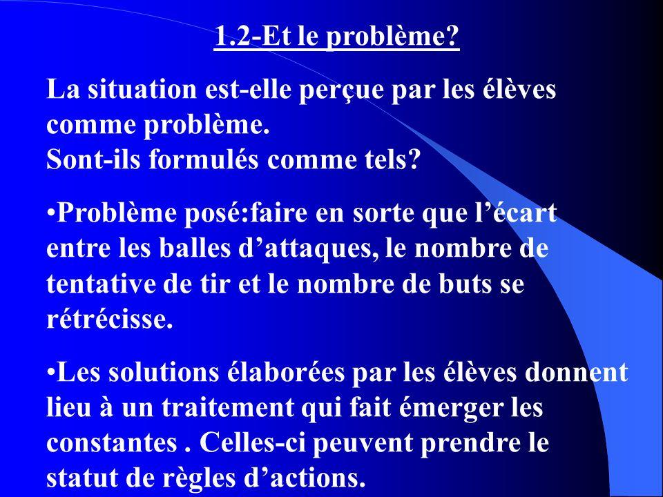 1.2-Et le problème La situation est-elle perçue par les élèves comme problème. Sont-ils formulés comme tels