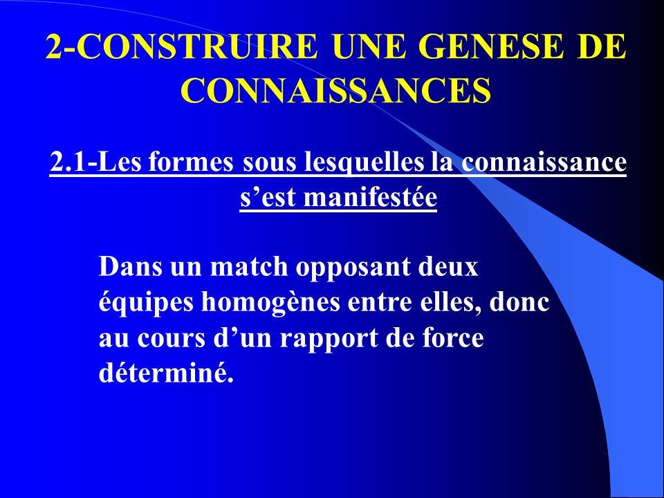 2-CONSTRUIRE UNE GENESE DE CONNAISSANCES