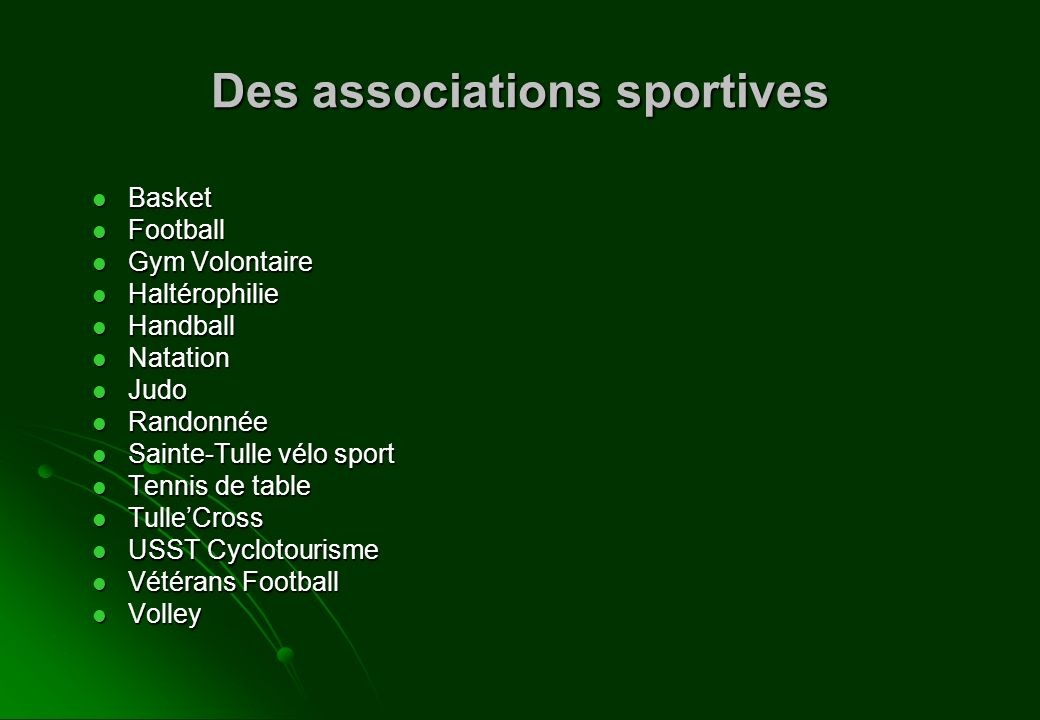 Des associations sportives