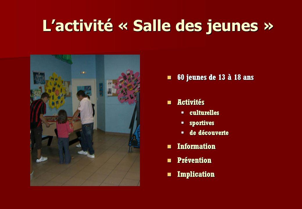 L'activité « Salle des jeunes »