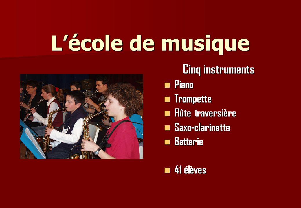 L'école de musique Cinq instruments Piano Trompette Flûte traversière