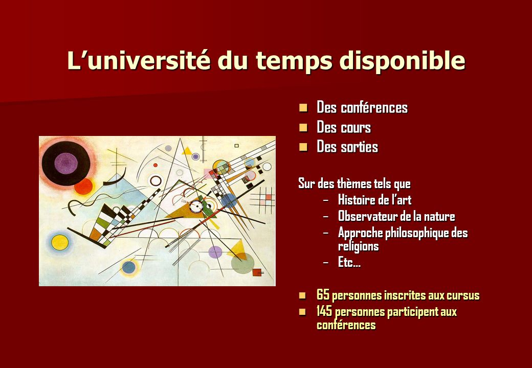 L'université du temps disponible