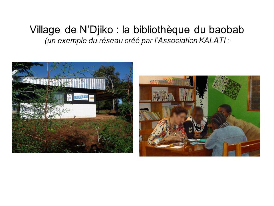 Village de N'Djiko : la bibliothèque du baobab (un exemple du réseau créé par l'Association KALATI :