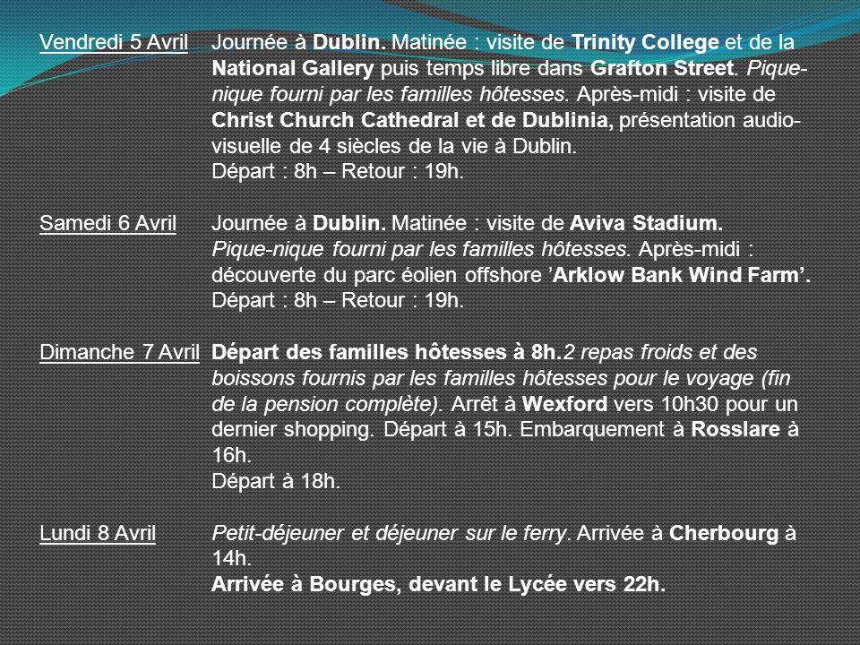 Vendredi 5 Avril. Journée à Dublin