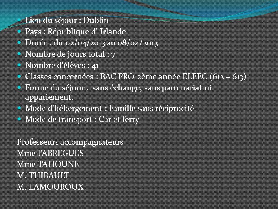 Lieu du séjour : Dublin Pays : République d' Irlande. Durée : du 02/04/2013 au 08/04/2013. Nombre de jours total : 7.