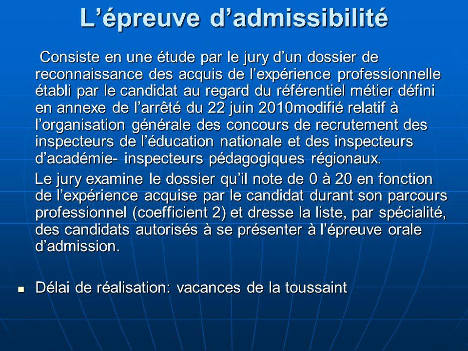 L'épreuve d'admissibilité
