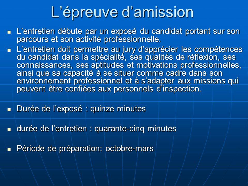 L'épreuve d'amissionL'entretien débute par un exposé du candidat portant sur son parcours et son activité professionnelle.