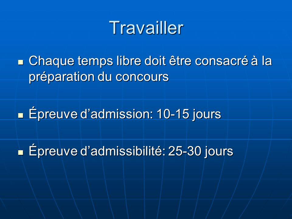 TravaillerChaque temps libre doit être consacré à la préparation du concours. Épreuve d'admission: 10-15 jours.