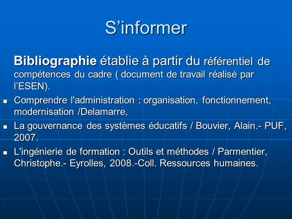 S'informer Bibliographie établie à partir du référentiel de compétences du cadre ( document de travail réalisé par l'ESEN).