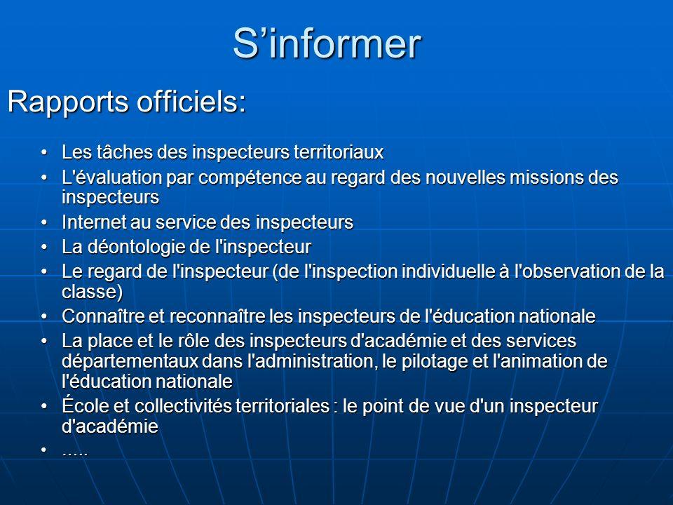 S'informer Rapports officiels: Les tâches des inspecteurs territoriaux