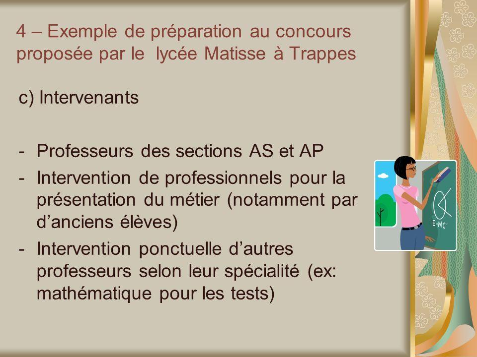 4 – Exemple de préparation au concours proposée par le lycée Matisse à Trappes