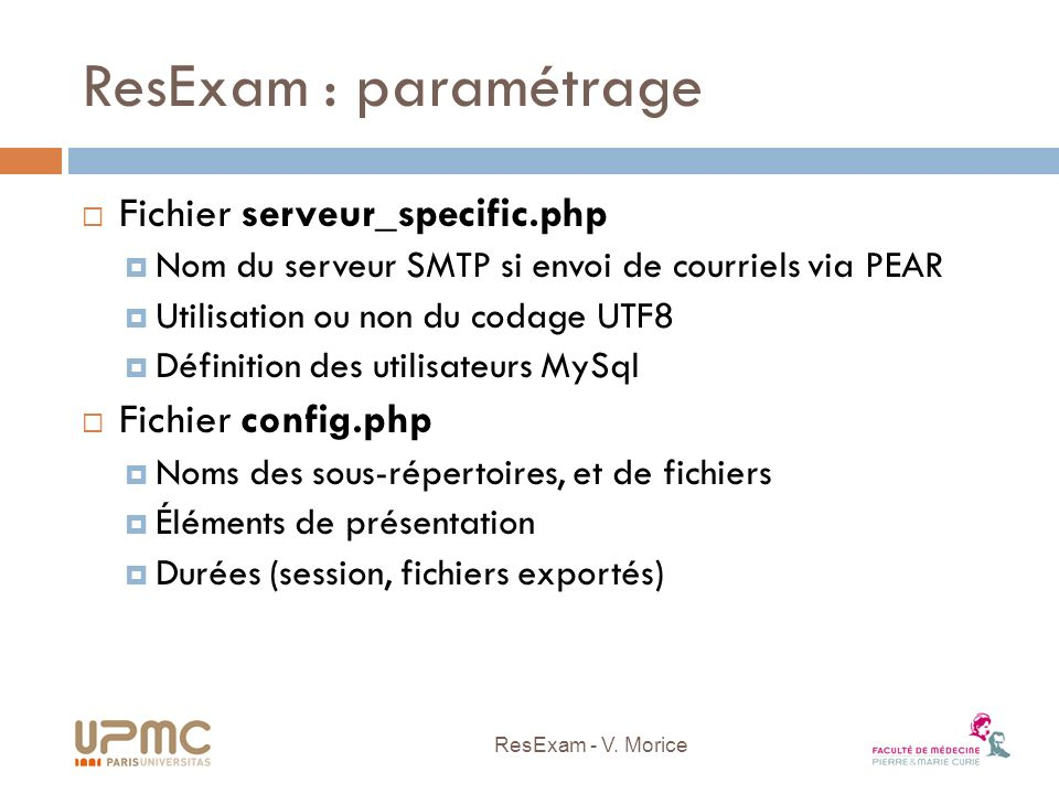 ResExam : paramétrage Fichier serveur_specific.php Fichier config.php
