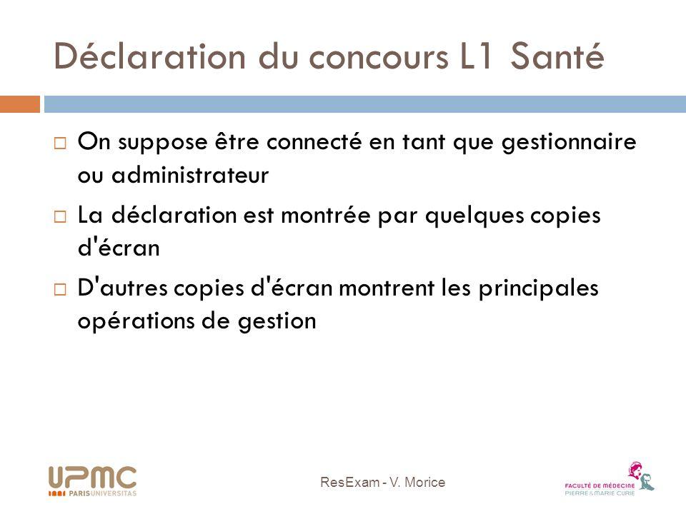 Déclaration du concours L1 Santé