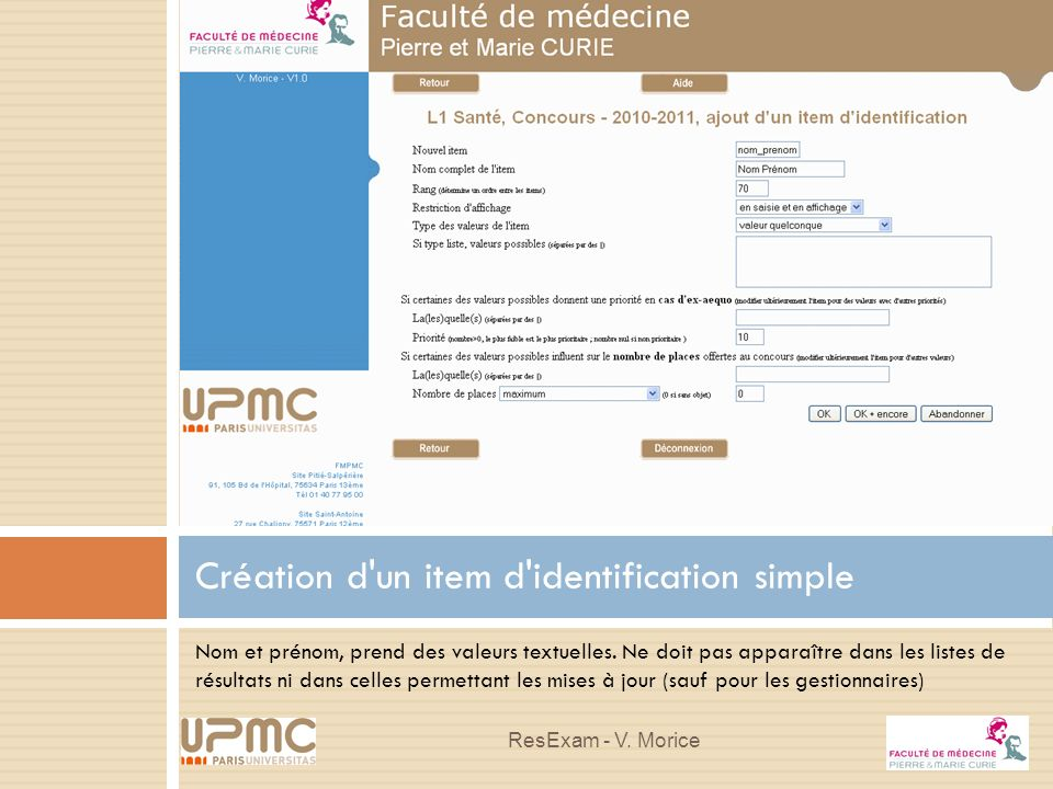 Création d un item d identification simple