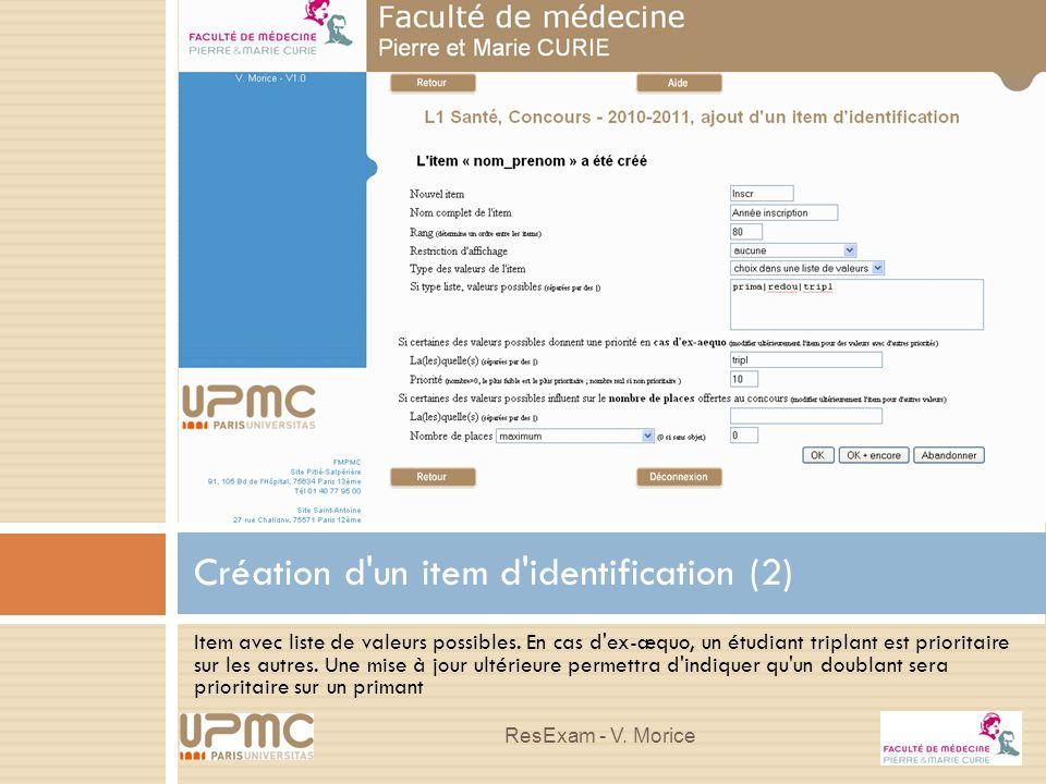 Création d un item d identification (2)