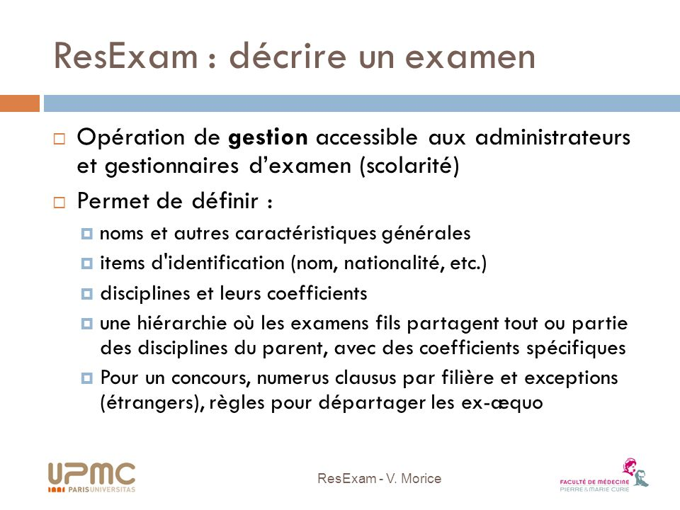 ResExam : décrire un examen