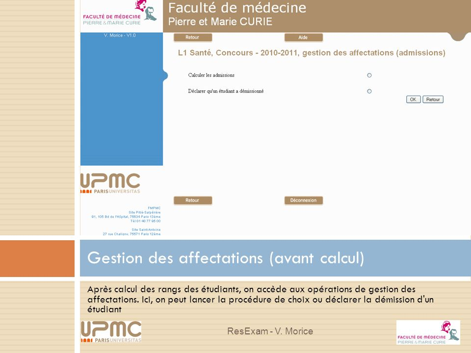 Gestion des affectations (avant calcul)