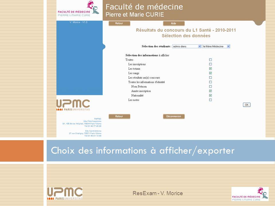 Choix des informations à afficher/exporter