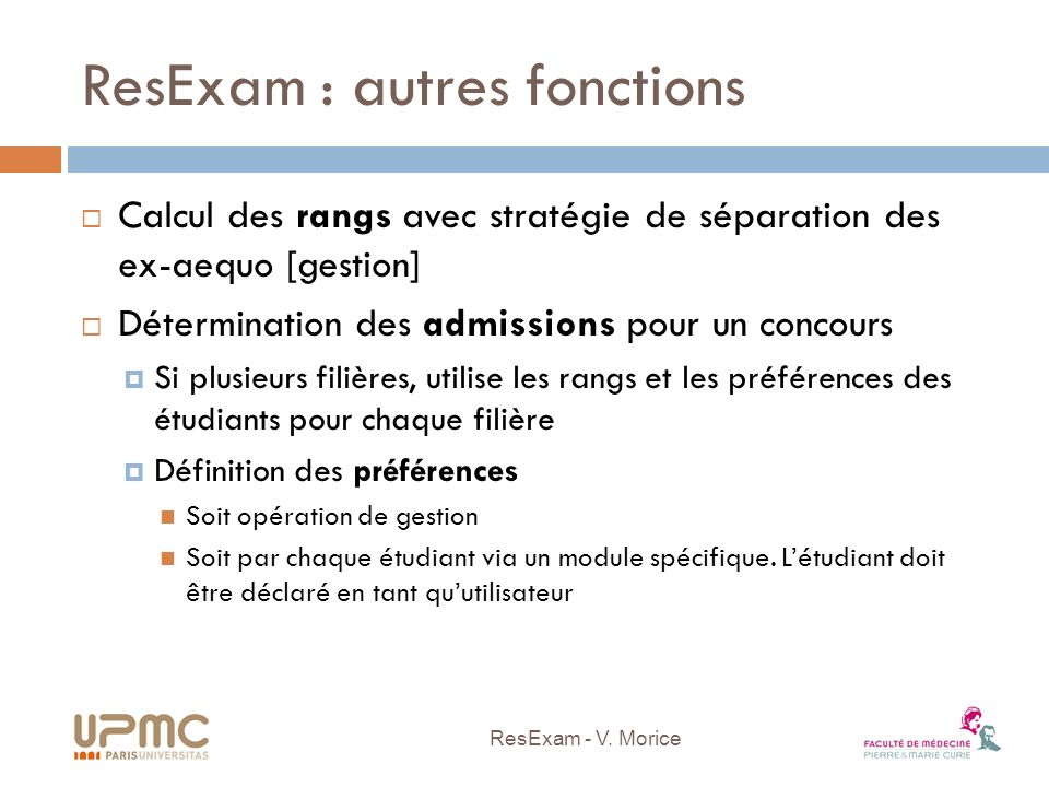 ResExam : autres fonctions