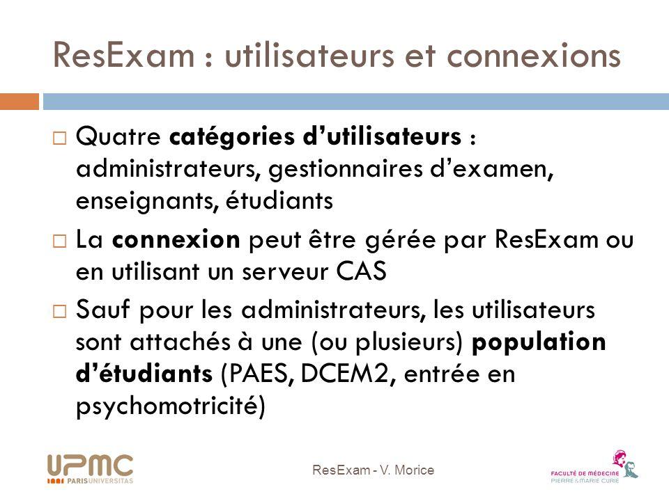 ResExam : utilisateurs et connexions