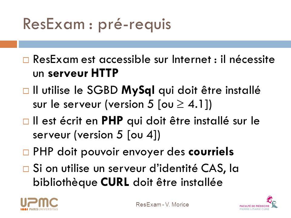 ResExam : pré-requis ResExam est accessible sur Internet : il nécessite un serveur HTTP.