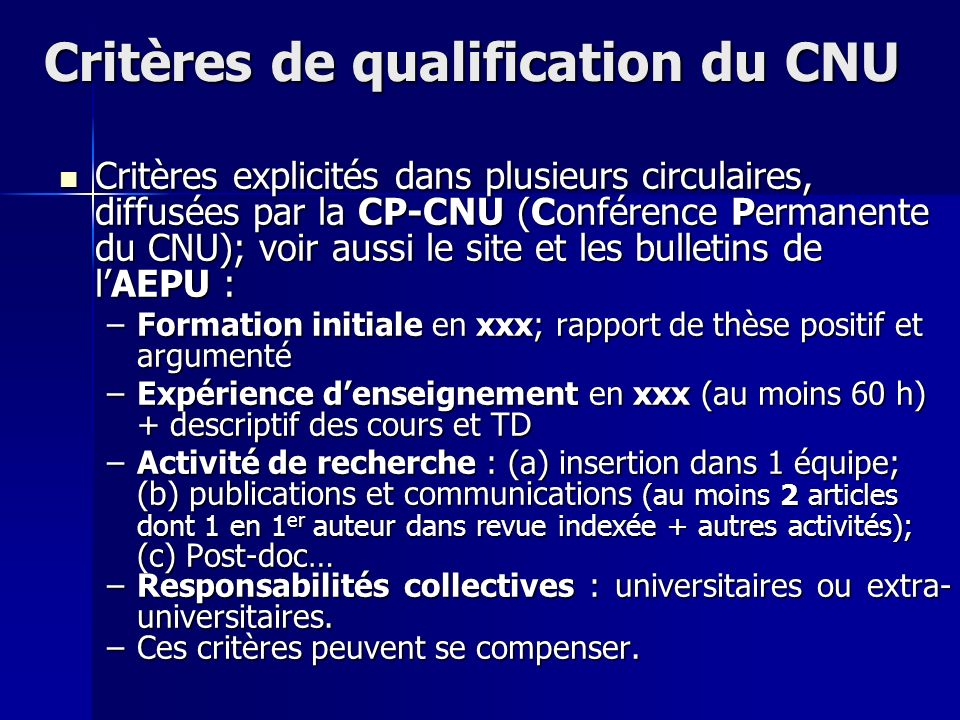 Critères de qualification du CNU