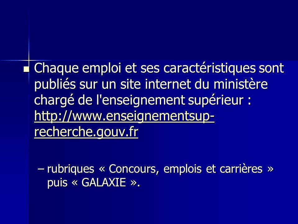 Chaque emploi et ses caractéristiques sont publiés sur un site internet du ministère chargé de l enseignement supérieur : http://www.enseignementsup-recherche.gouv.fr