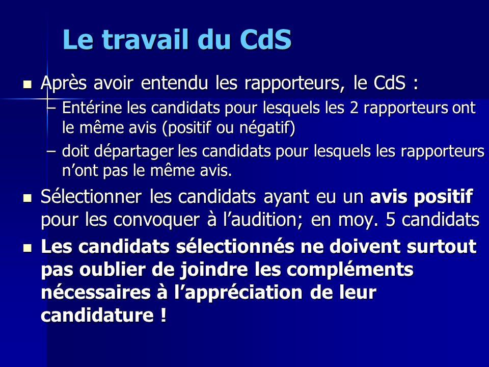 Le travail du CdS Après avoir entendu les rapporteurs, le CdS :