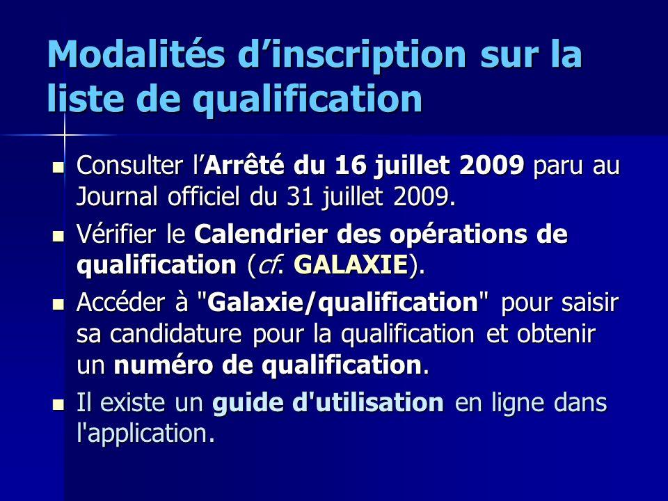 Modalités d'inscription sur la liste de qualification