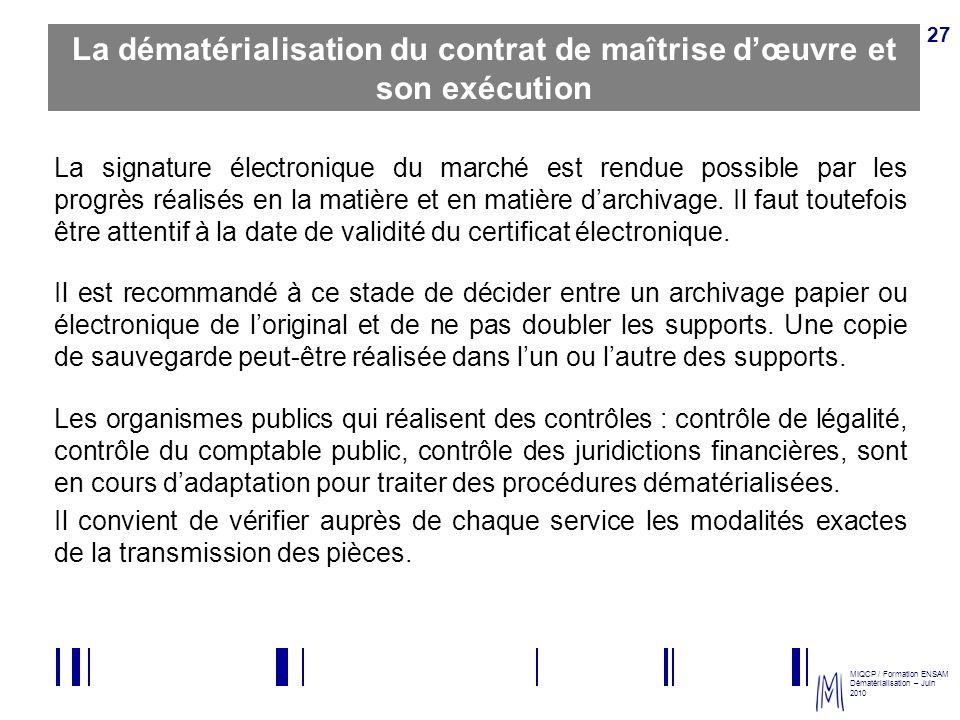 La dématérialisation du contrat de maîtrise d'œuvre et son exécution